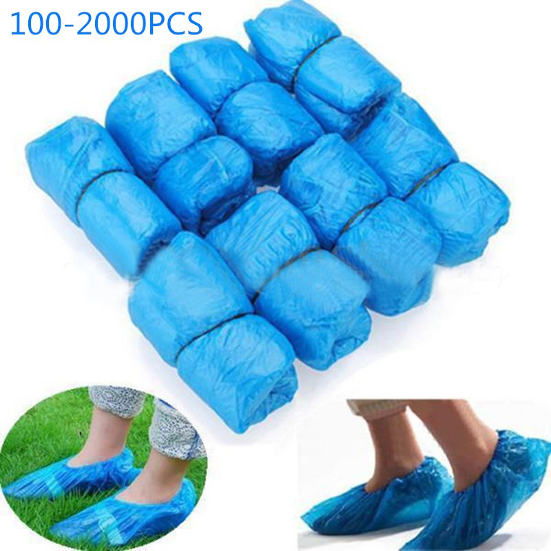 100-2000Pcs Medical Waterproof Boot Covers Plastic Disposable Shoe Covers Homes Overshoes Freeshipping