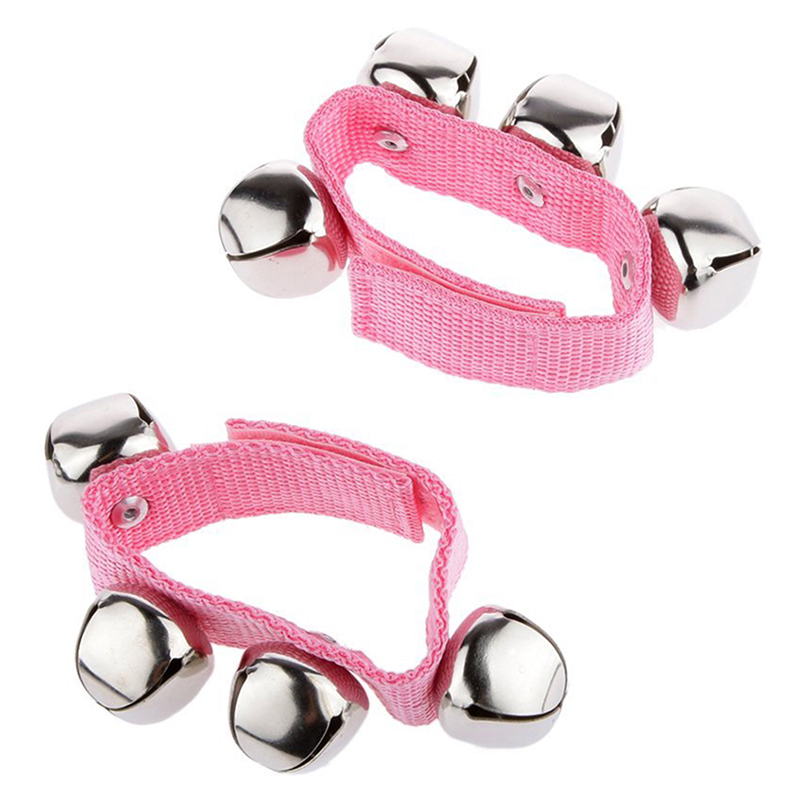 1 Pair Wrist/Ankle Bells Instrument Toys For Baby Kids - Pink, L