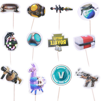 24pcs/set Fortnites Cake Flag Party Set Birthday Cake Decoration Card Game Flag Birthday Toys Gift Decoration fortnites 2