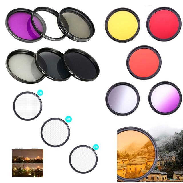 Filtr obiektywu aparatu DSLR UV ND FLD Star color 37 40.5 43 46 49 52 55 58 62 67 72 77 82 mm dla Nikon Canon Sony Fujifim Olympus