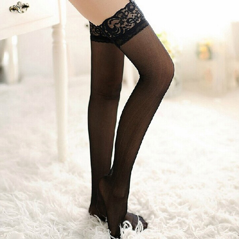 Women Sexy Long Stocking Sheer Lace Top Thigh High Stockings Nets Pantyhose For Female Stockings Black White Red HOT SALE