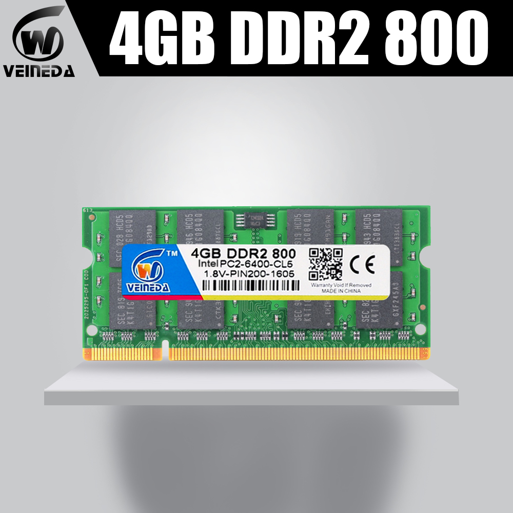 VEINEDA <font><b>Sodimm</b></font> memory ram <font><b>4gb</b></font> <font><b>ddr2</b></font> 800Mhz ram <font><b>ddr2</b></font> 667mhz notebook for Intel amd mobo Support ram <font><b>ddr2</b></font> 533 Mhz pc6400 200pin image