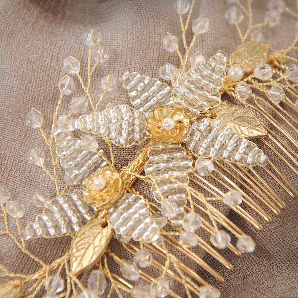 YouLaPan à la mode doré cristal mariage cheveux peignes accessoires de cheveux pour mariée casque femmes tiare mariée cheveux ornement HP54