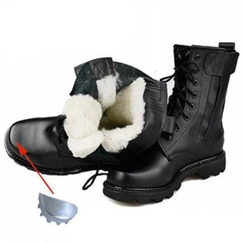 Meskie Zimowe Stalowe Toe Buty Ochronne Skorzane Buty Wojskowe Rosyjskie Najcieplejsze Naturalne Welniane Meskie Sniegowe Buty Motocyklowe Podstawowe Buty Aliexpress