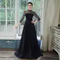 SSYFashion Neue Bankett Elegante Navy Blau Abendkleid Luxus Pailletten Funkelnde Glänzende Langarm Prom Formale Kleider Vestidos