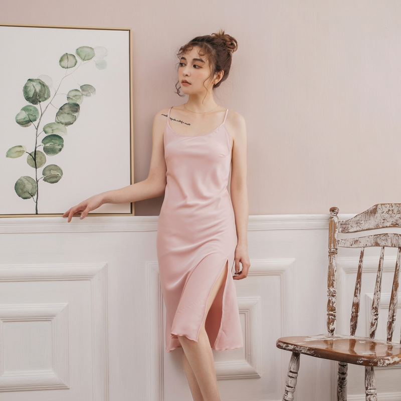 Foreign Trade New Products Sexy Lingerie Classic Solid Color Viscose Slip Nightdress Imitated Silk Fabric Women's Tracksuit Wome