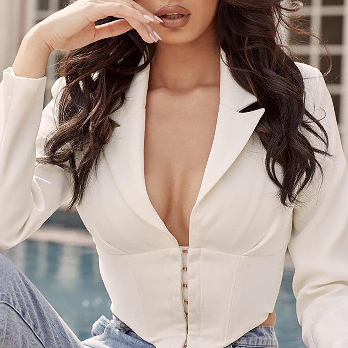 Elegant V Neck Blazer Women Autumn Coat 2019 Vintage Short Jacket Women White Office Ladies Party Club Sexy Mini Outwear