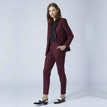 Burgundy Ladies Pant Suits Women Business Suits Bla