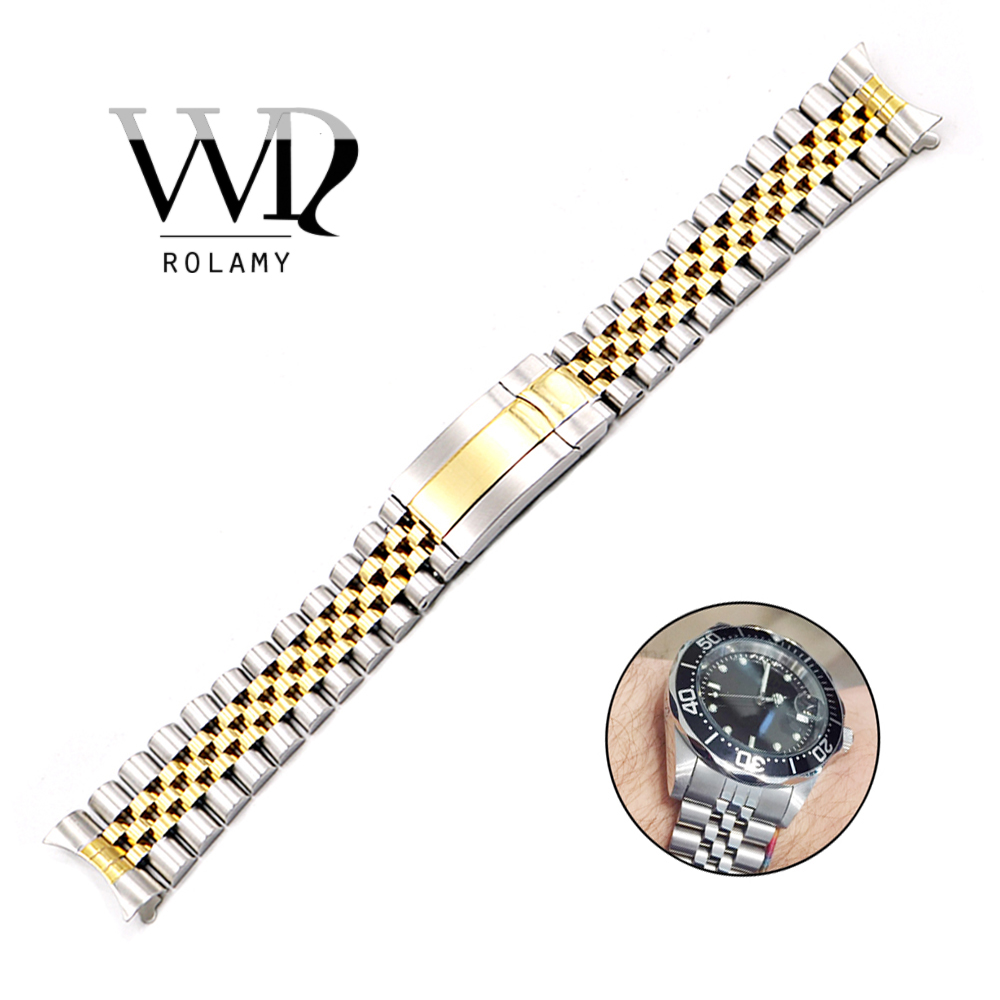 Rolamy 19 20mm Watch Band Strap 316L Steel For Rolex Datejust Hollow Curved End Screw Links Replacement Jubilee Watchband Strap