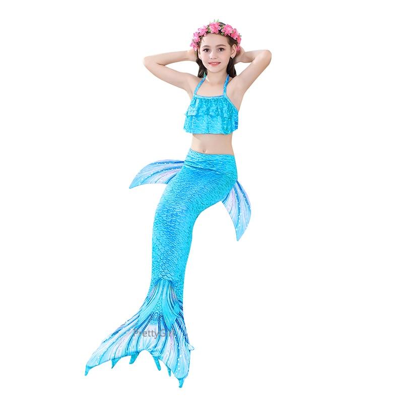 PrettyGirl Kids Girls Swimming Mermaid tail Mermaid Costume Cosplay Children Swimsuit Fantasy Beach Bikini can add Monofin Fin 6