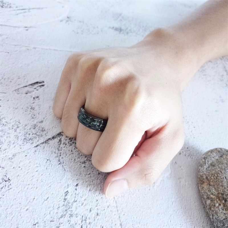 Vnox 8mm סיבי פחמן טבעת עבור גברים שחור נירוסטה מזדמן זכר ברית אנל רב צבע עבור אפשרויות