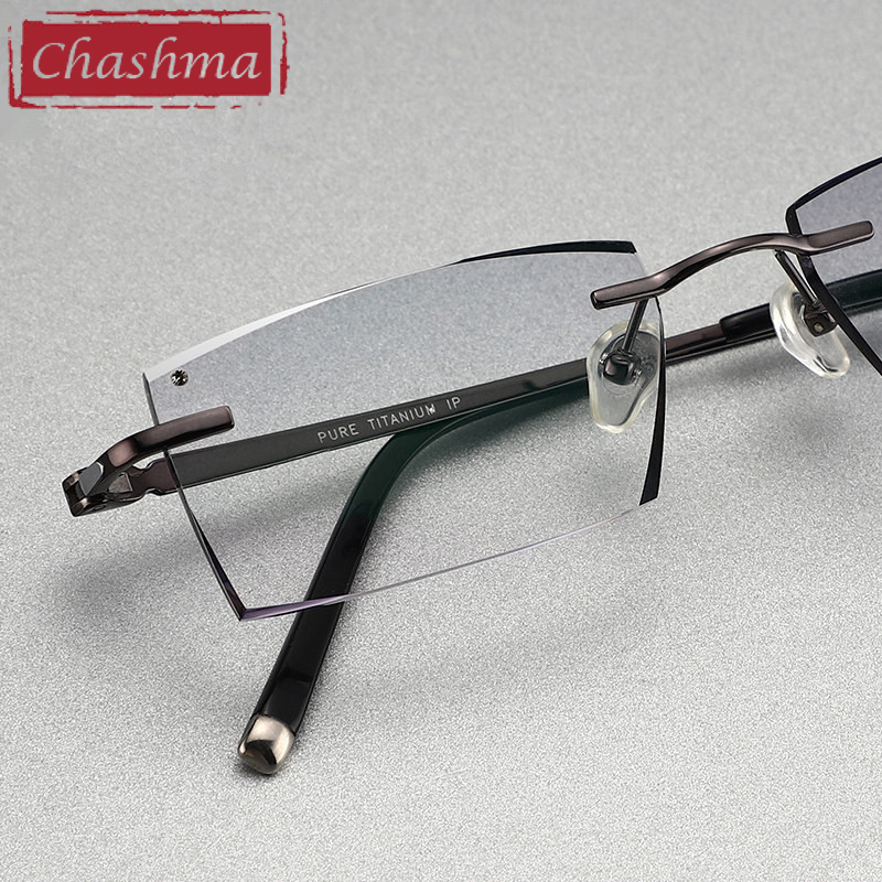 Titanium Prescription Dark Lenses Glasses Men Luxury Tint Lenses Myopia Reading Glasses Diamond Cutting Rimless Frame