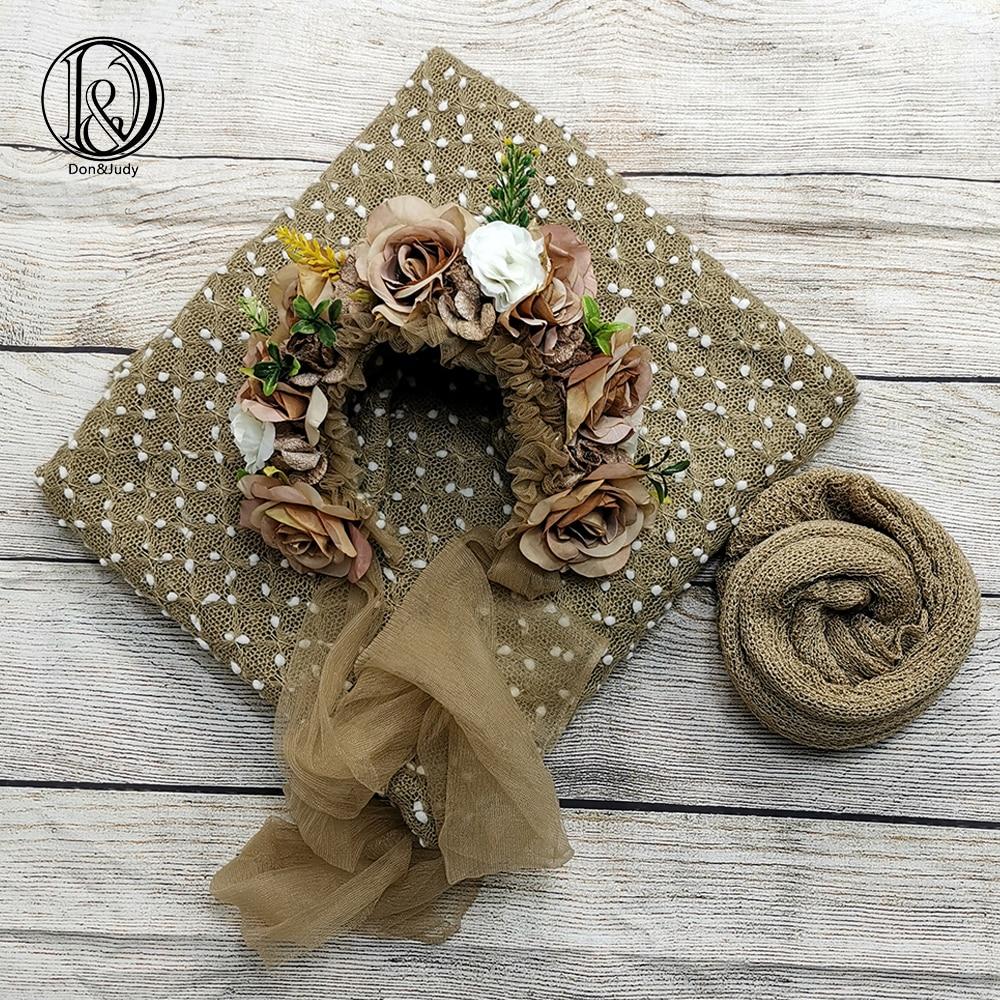Don&Judy Newborn Photography Prop 3pcs/set Fabrics Blanket + Newborn & Sitter Bonnet + 140x30cm Wrap Accessories For Photo Shoot