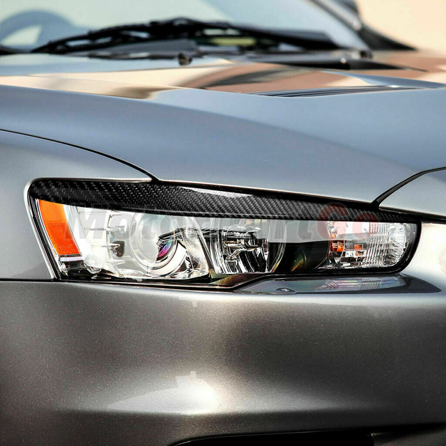 Real Crabon Fiber Head light Eyelid Eyebrow Cover Trim 1pair for Mitsubishi  Lancer EVO X 10 2008-2014 T208 5