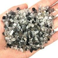 Ev ve Bahçe'ten Taşlar'de 3 5mm 50g doğal siyah saç kuvars Rutilated kristal taş taşlar şifa Reiki çakıl doğal kuvars kristalleri