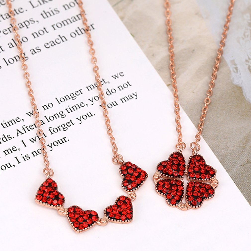 Four-Leaf Clover Necklace Korean Version Love Split Folding Pendant Rose Gold Clavicle Chain Full Diamond Red Necklace