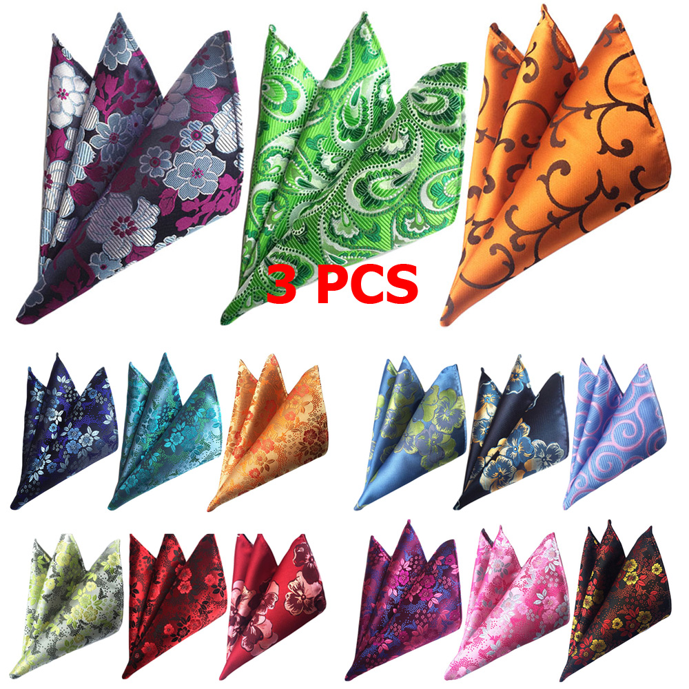 3 PCS Men Fashion Colorful Floral Pocket Square Handkerchief Wedding Party Hanky