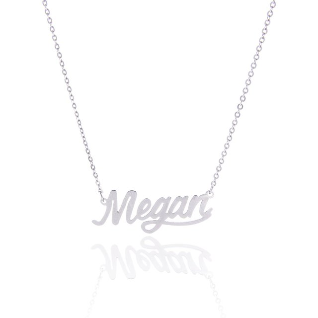 2020 Silver English Name Necklace Customized Nameplate  Birthday Stainless Steel Engraving Gift Personalized Jewelry Hot