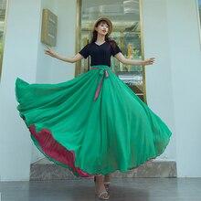 Women Spanish Flamenco Skirt Dance Practice Long Big Swing Skirt Performance Gypsy Lady Belly Skirt Dress Wear on Both Sides