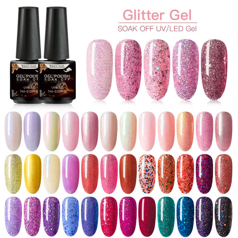 Rban Kuku 7 Ml Uv Gel Nail Polish Holographic Glitter Payet Rendam Off Uv Gel Varnish Warna Kuku Gel Polandia DIY Nail Art Gel Lacquer