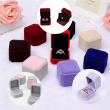 Square Velvet Jewelry Box Ring Holder Gift Packaging Marriage Storage Organizer Casket Earring Display Stand Wedding Wholesale
