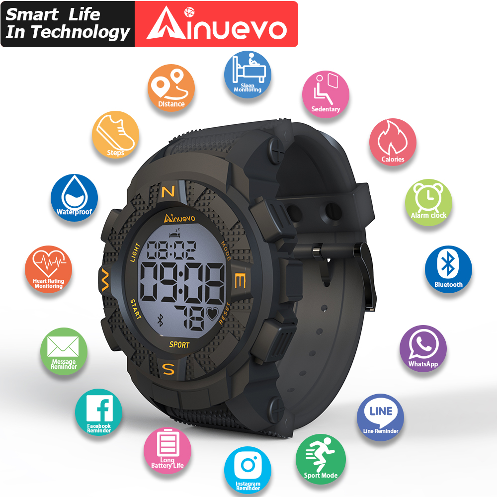 Ainuevo E1 Sport Smart Watch 2020 Man Bluetooth Waterproof Continuous Heart Rate Monitoring Smart Reminder Android IOS L7 L8 L9