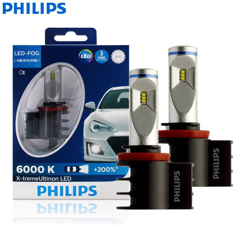 Philips X-treme Ultinon LED H8 H11 H16 6000K White All Weather Light Fog Lamp +200% Brighter 12834UNIX2