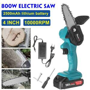 24V 4 inch Mini Cordless Electric Chain Saw Lithium Battery Portable Woodworking Tools Garden Logging Saw for Makita 18V Battery