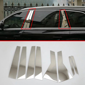 Stainless Steel Decorate Accessories Window Pillar Post Cover Trim For AUDI Q7 2016 2017