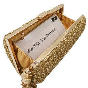 Image 5 - Moda marka niebieski brokat Tassel kobiety torby wieczorowe i sprzęgła Gala kolacja panie metalowa kopertówka torebki torebki damski portfel