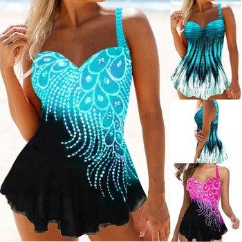 Women Print Tankini Swimming Suits 8XL Backless Sling Push Up Two Piece Set Bikini Sets Beach  Sexy Swimsuit Plus Size plus size backless tiered tankini set