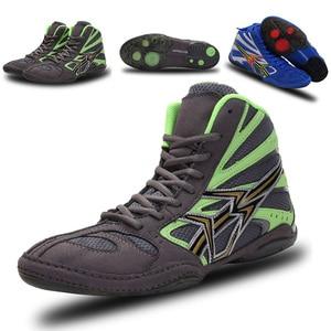 Zapatos de lucha profesional para hombres, zapatillas de boxeo antideslizantes, botas de combate para mujeres, zapatos de combate con suela de músculo de vaca