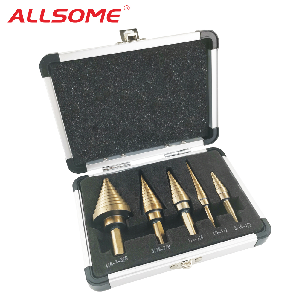 ALLSOME 5pcs/Set HSS COBALT MULTIPLE HOLE 50 Sizes STEP DRILL BIT SET With Aluminum Case Arrival High Quality HT410