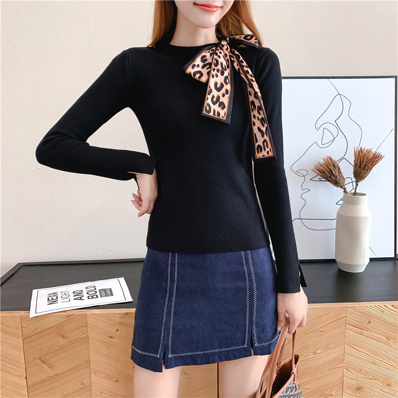 Women Knit Sweater Pullover Autumn Winter Clothes New Leopard Bow Tie Slim Pull Knitwear Sweater Jumper Long Sleeve Female Tops 7