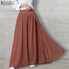 Élégant femmes Pantalon jambe large ZANZEA 2021 solide jupe-culotte taille élastique Pantalon Long Palazzo femme navet grande taille