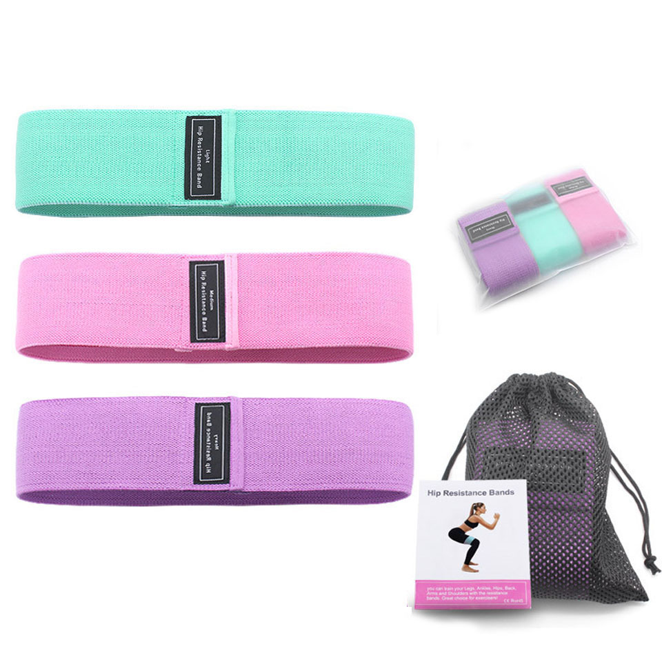 Hip Band Cotton Yoga Resistance Band Wide Fitness Exercise Legs Band Loop For Circle Squats Training Anti Slip Rolling