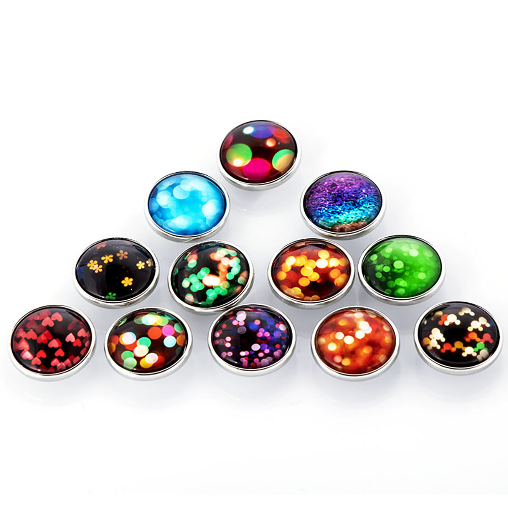 10pcs/lot New Snap Jewelry Mixed fashion Floral Glass Snap Buttons Fit 18mm Snap Bracelet for Women Button Jewelry image