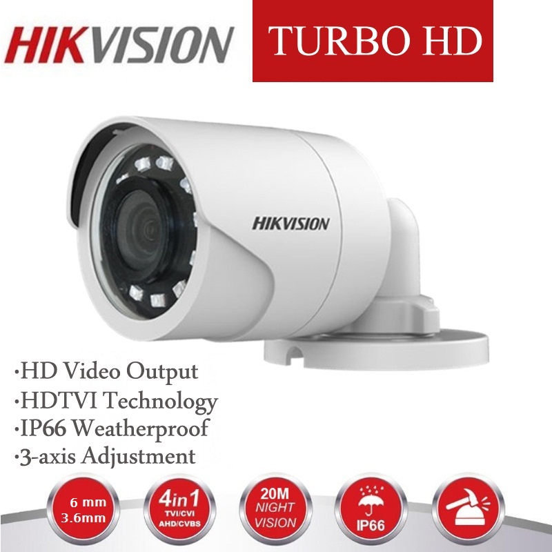 Hikvision 2MP HD1080P CVBS/AHD/TVI/CVI DS-2CE16D0T-IRF  Bullet Camera 20m IR Night Vision IP66 Waterproof Turbo HD Camera