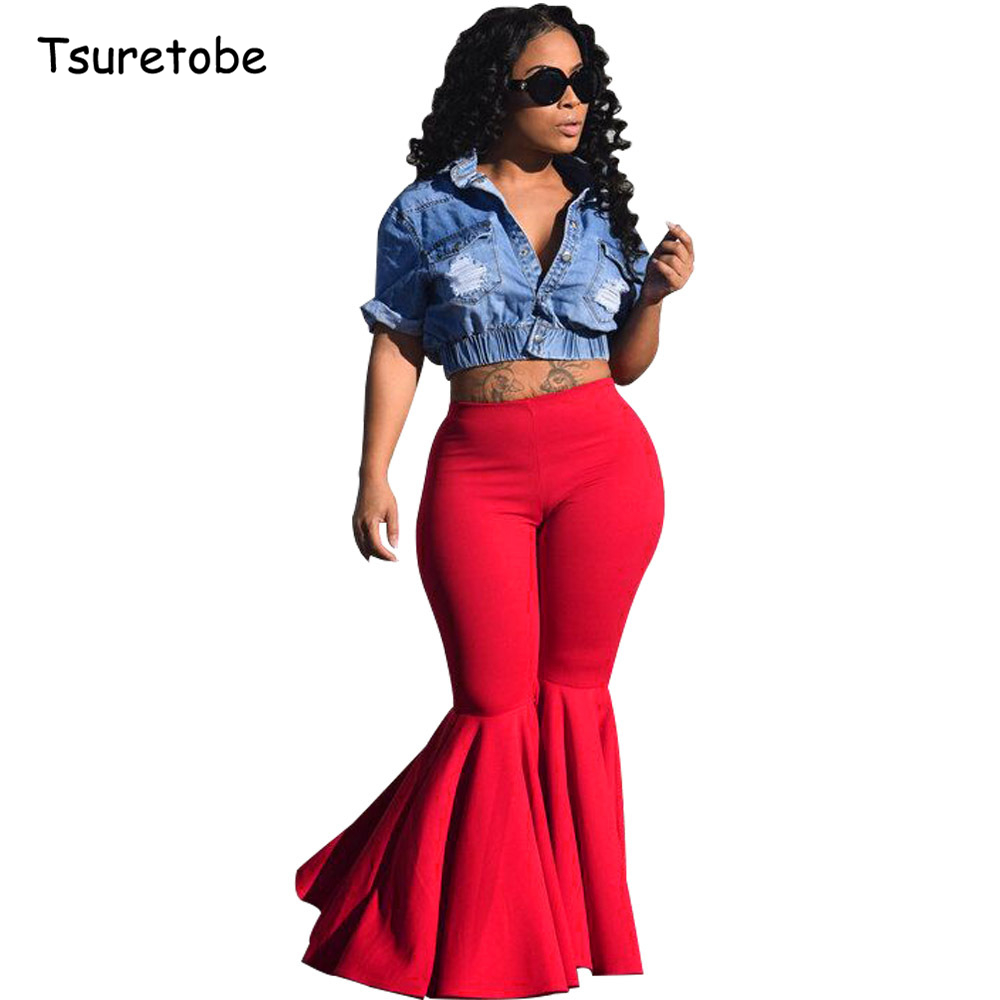 Tsuretobe Plus Size Fashion Ruffle Flare Pants Wide Leg Women Colorful Bodycon Mid Waist Bell-Bottoms Pant Vintage Solid Trouser
