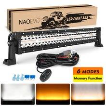 NAOEVO 22 inch LED Light Bar / Work Light Strobe Dual Color 6 Modes 4x4 Accessories Off Road Driving Fog Lamp Truck Atv Led Bar