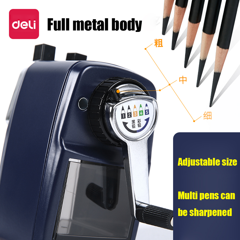 Deli Adjustable Metal Pencil Sharpener 5 Gear Students Hand-cranked Multifunctional For Art Pencil Learning Office Stationery