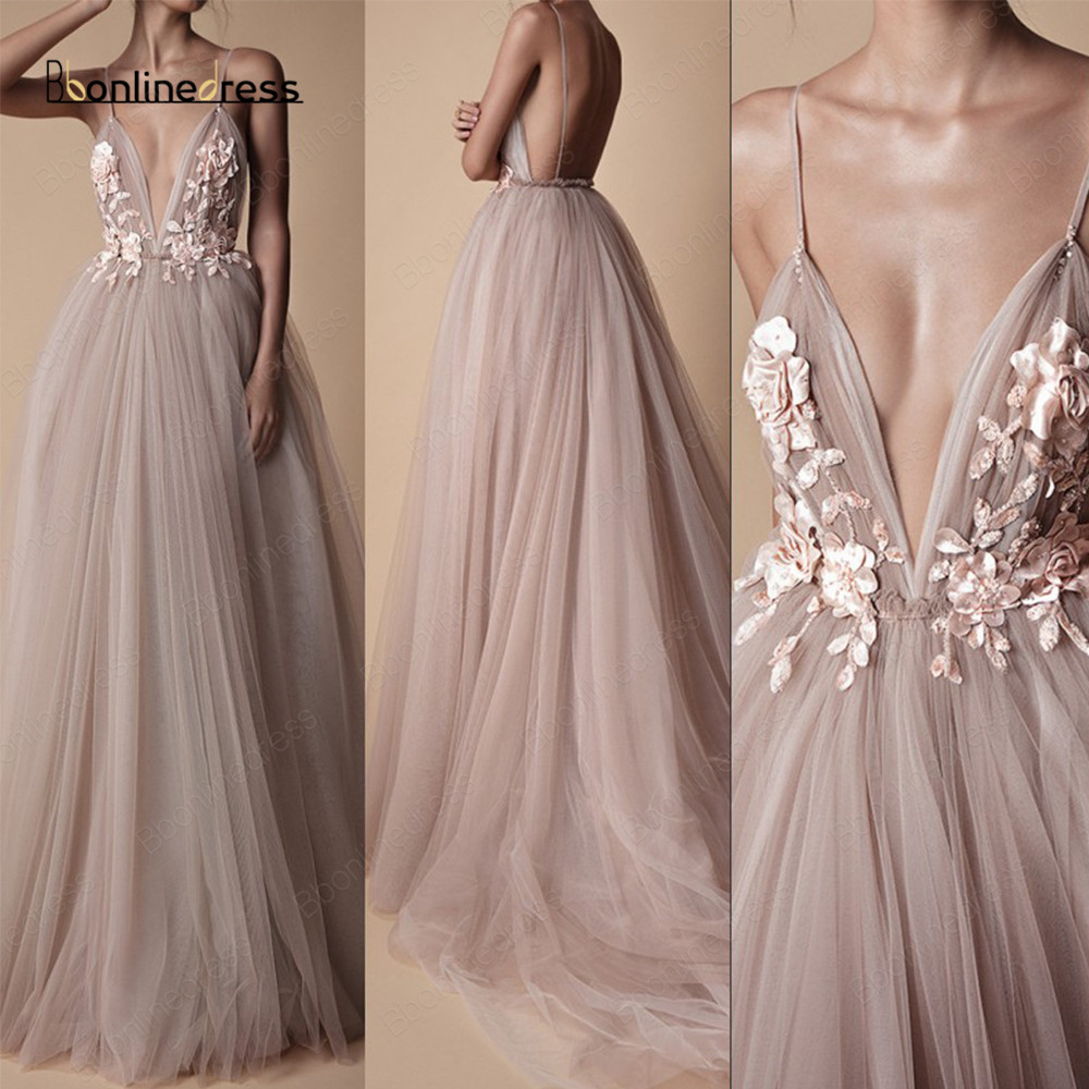 Sexy Tulle Long Evening Dress 2020 Flowers Blush A Line Spaghetti Strap Special Occasion Prom Gowns vestido de festa