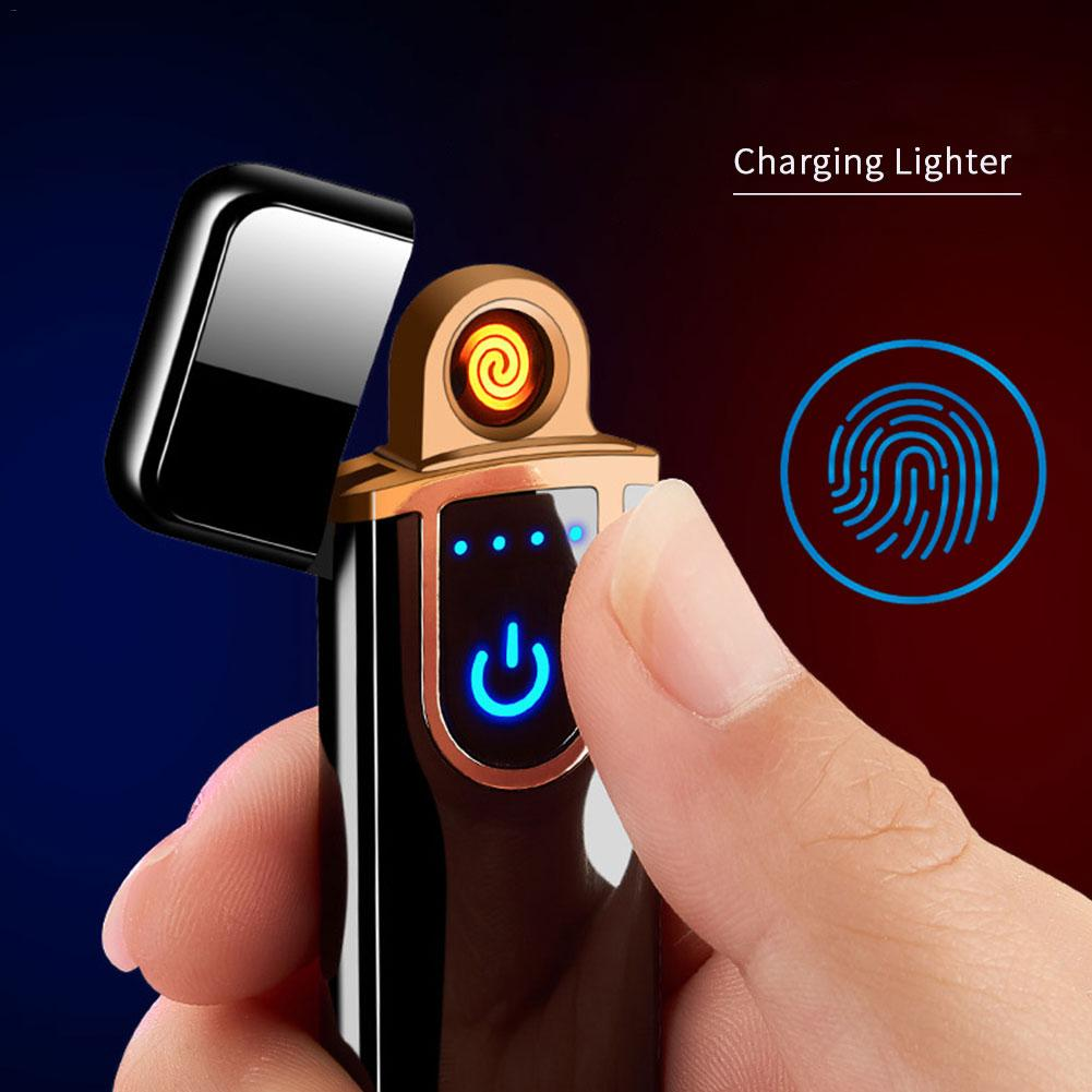 Charging Lighter Touch Induction Windproof Electronic Ultra-thin USB Cigarette Custom Metal