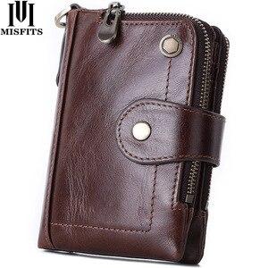 Кошелек MISFITS из воловьей кожи на молнии, мужской кошелек из 100% натуральной кожи, винтажный короткий кошелек с держателем для карт, маленький ...
