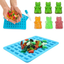 Silicone Forms Silicone Mold Jelly Bear Cake Candy Trays Gummy Bear Shape Bear Mould With Dropper Rubber Chocolate Maker Tools(China)