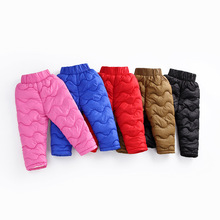 Casual toddler Girl Boy Winter autumn Pants Cotton Padded Kids pants Thick Warm Trousers Elastic Wai