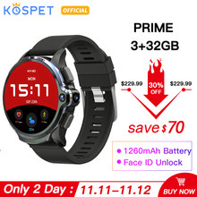 KOSPET Prime 3GB 32GB zegarek smartwatch z telefonem 1260mAh baterii podwójny aparat face id unclok 1.6 Cal 4G z systemem Android inteligentny zegarek Bluetooth GPS(China)