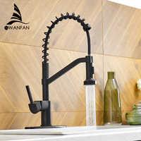 WANFAN Modern Polished Chrome Brass Kitchen Sink Faucet Pull Out Single Handle Swivel Spout Vessel Sink Mixer Tap 9013