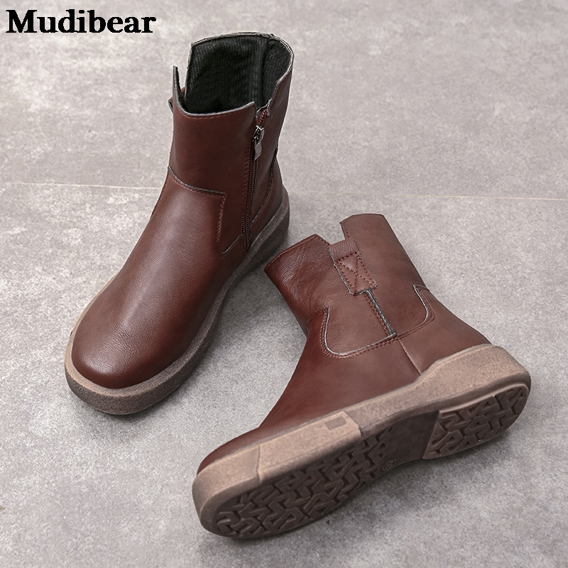 Купить женские кожаные ботинки mudibear черные на плоской платформе