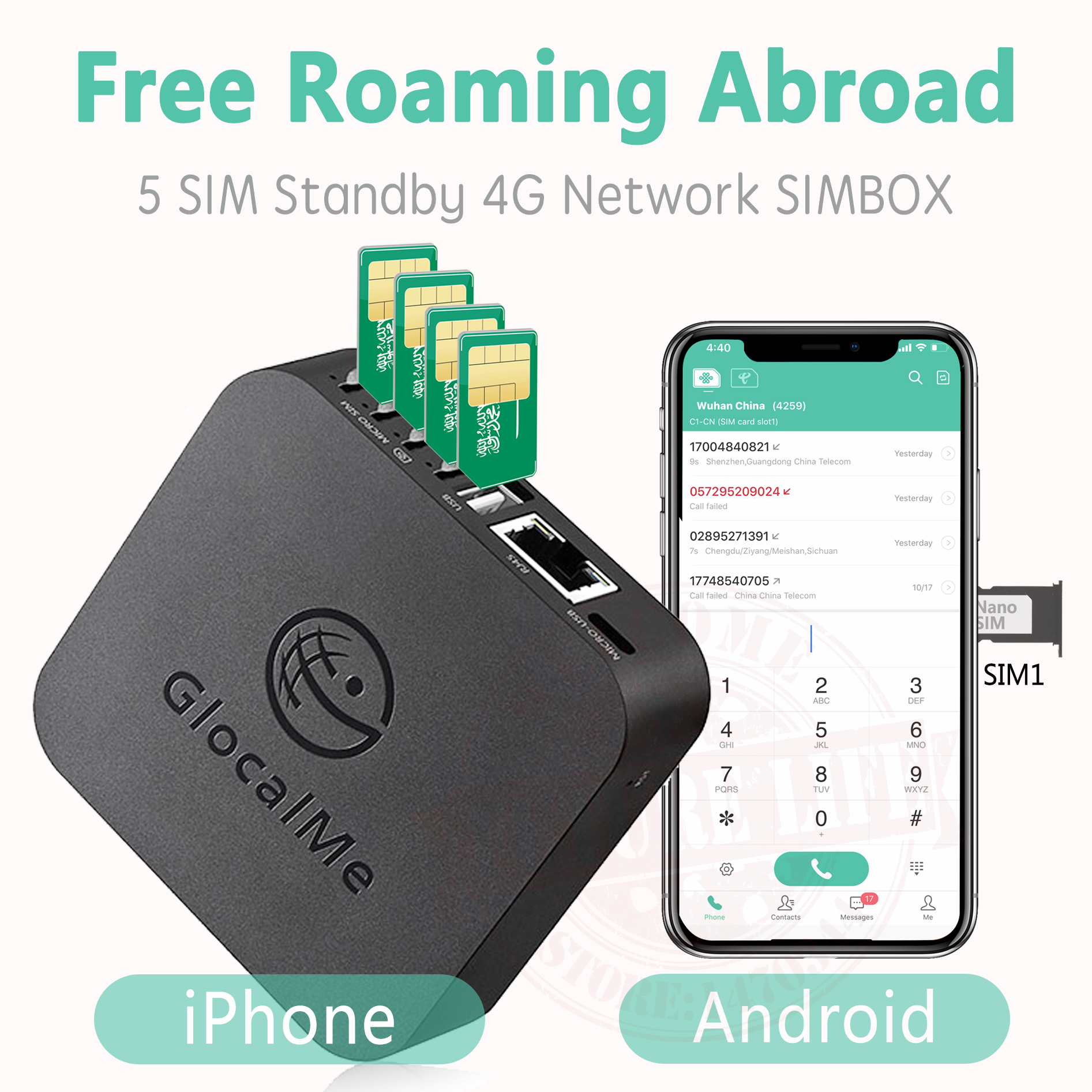 Glocalme Call Multi SIM Dual Standby No Roaming Abroad 4G SIMBOX For IOS & Android ,No Need Carry ,WiFi / Data To Make Call &SMS